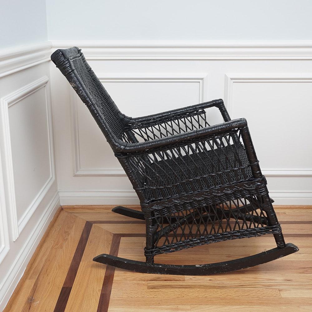 ... Black Wicker Rocking Chairs By Black Wicker Rocking Chair Ebth ...