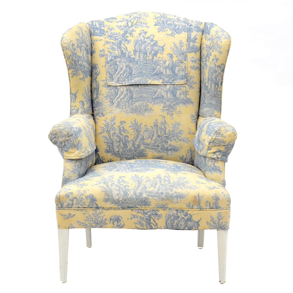 Wingback Chair Upholstered In Blue And Pale Yellow Toile ...