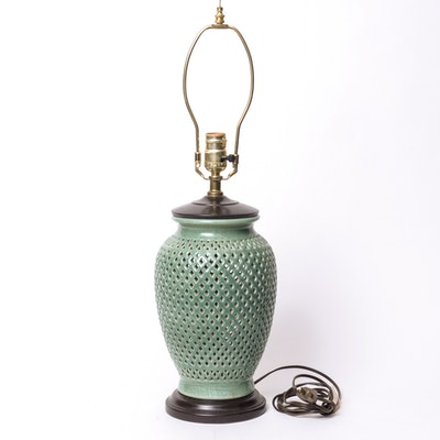 Floor lamp with ginger jar ebth for Glass jar floor lamp