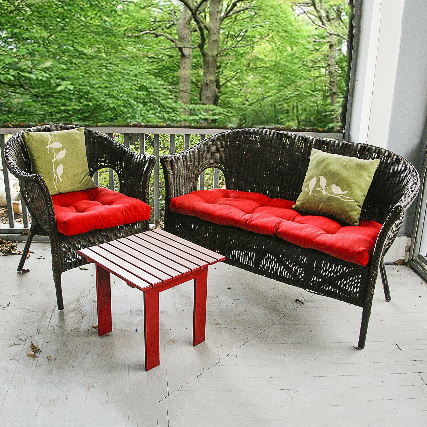 Set of Brown Wicker Patio Furniture and Small Red Accent