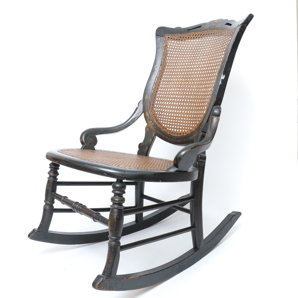 Black Painted Cane Rocking Chair