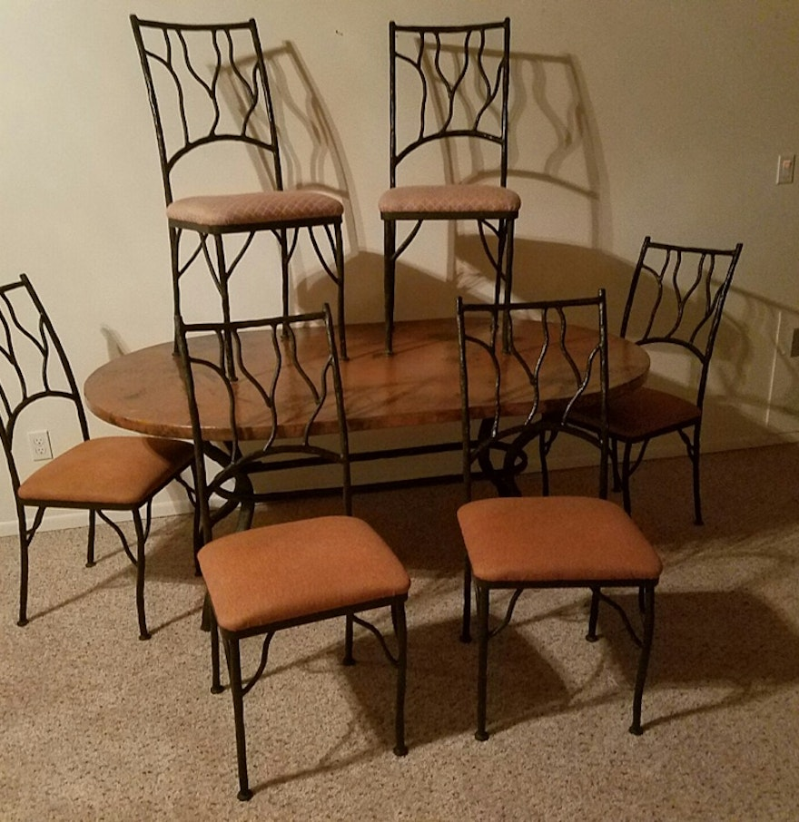 late th to early st century seven piece dining set : seven piece dining set
