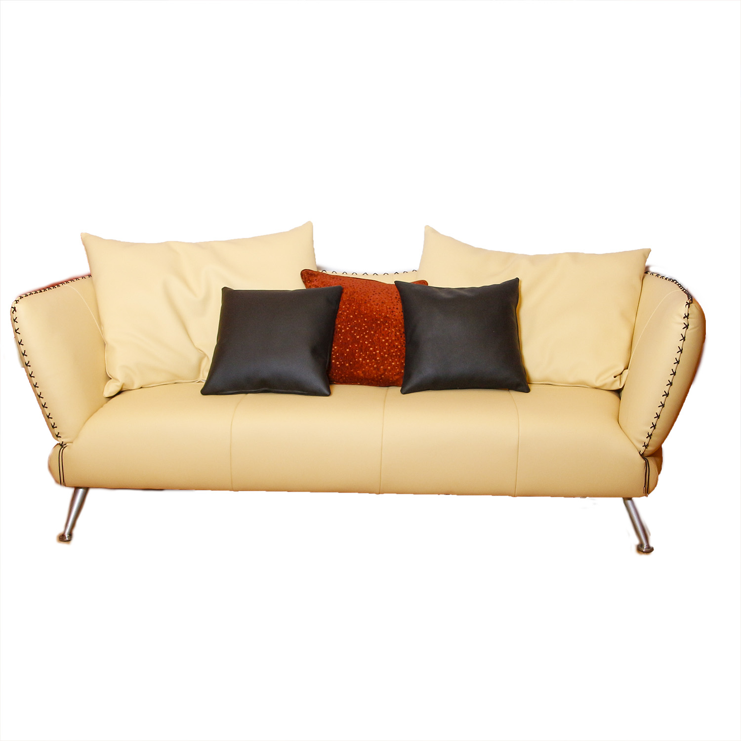 Contemporary Pale Yellow Leather Couch