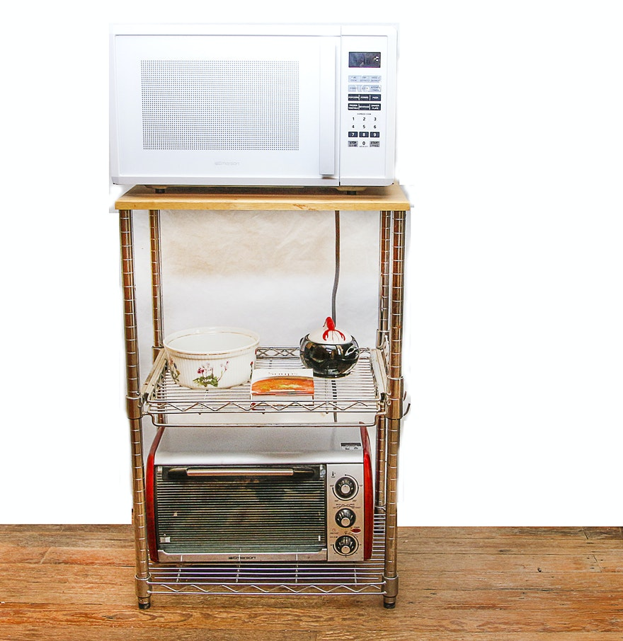 Microwave And Toaster Oven With Metal Wooden Shelf