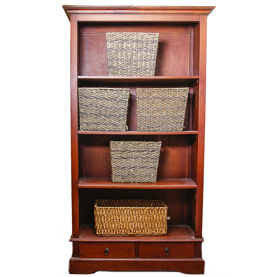 Large Wooden Bookcases ~ Large wooden bookcase and five wicker baskets ebth