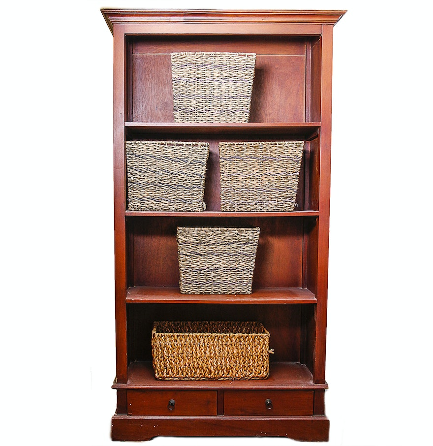 Large wooden bookcase and five wicker baskets ebth
