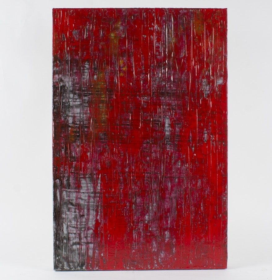 Black and red abstract painting on canvas ebth for Abstract painting on black canvas
