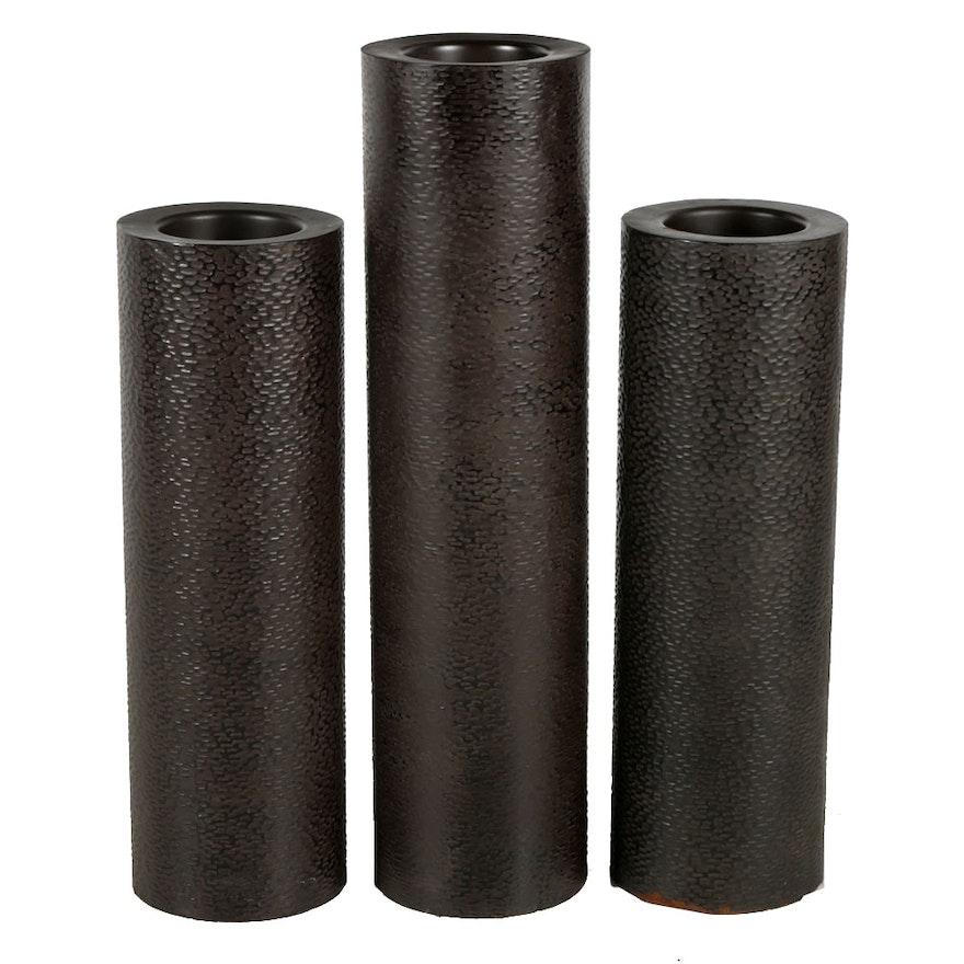 Three Decorative Metal Pillar Vases Ebth