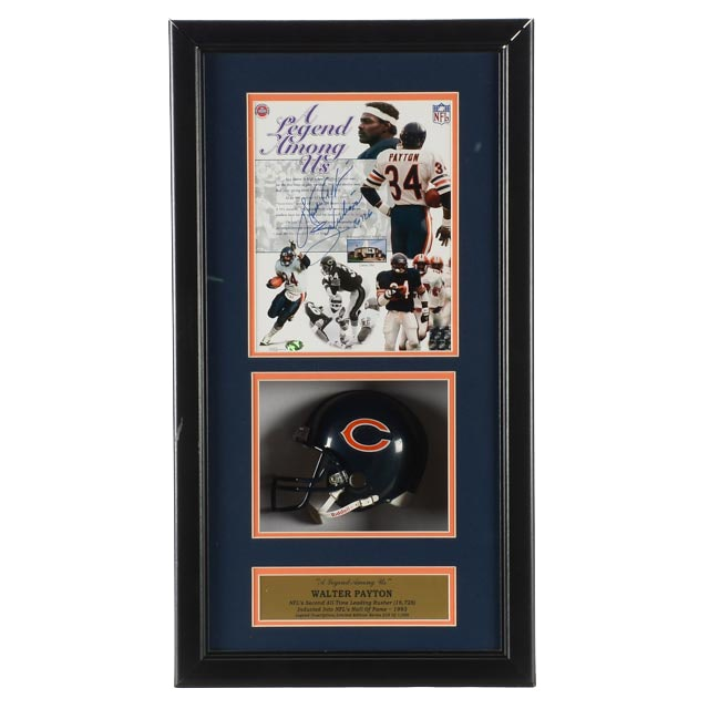 Walter Payton Signed Display   COA