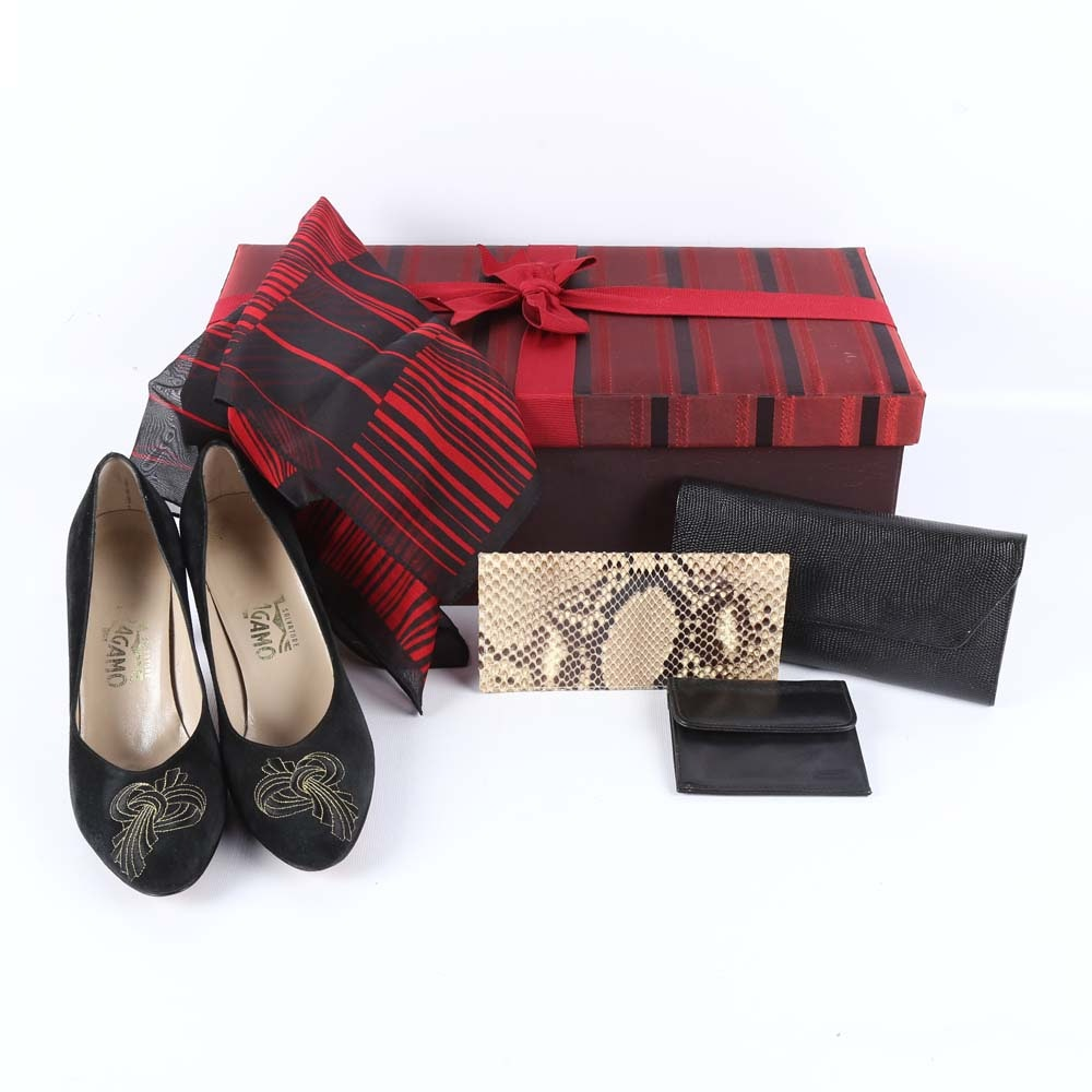 Ferragamo Black Suede Pumps and Wallet Grouping