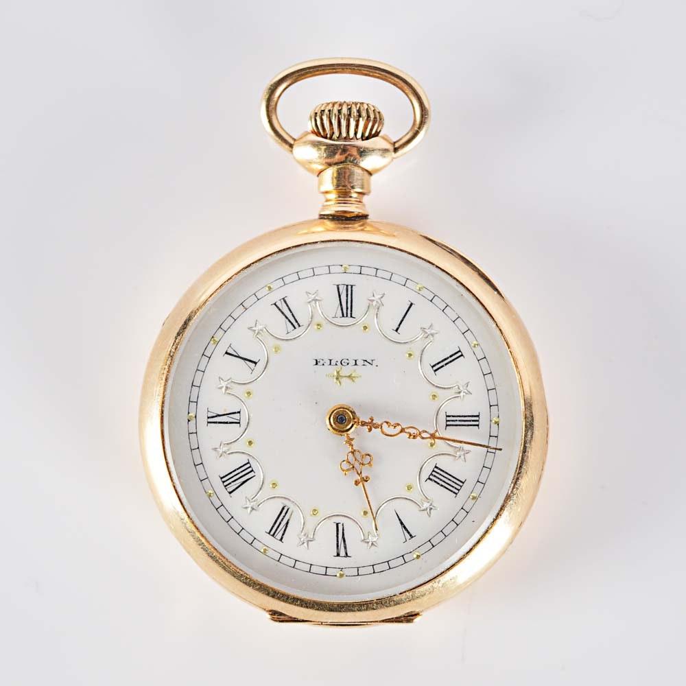 Antique 1882 14K Gold Filled Lady Elgin Pocket Watch