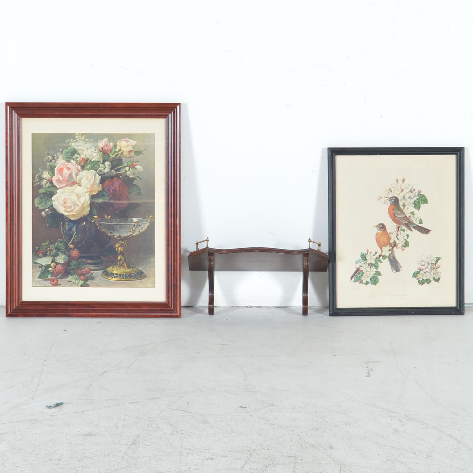Ethan Allen What-Not Shelf and Two Framed Offset Lithographs