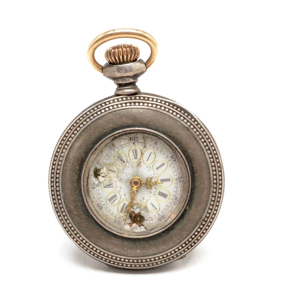 Antique Elgin Sterling Silver Women's Pocket Watch