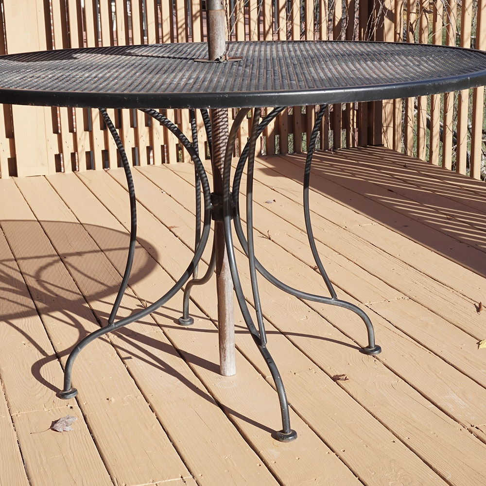 Wrought iron patio table chairs and umbrella set ebth for Patio table and chairs with umbrella