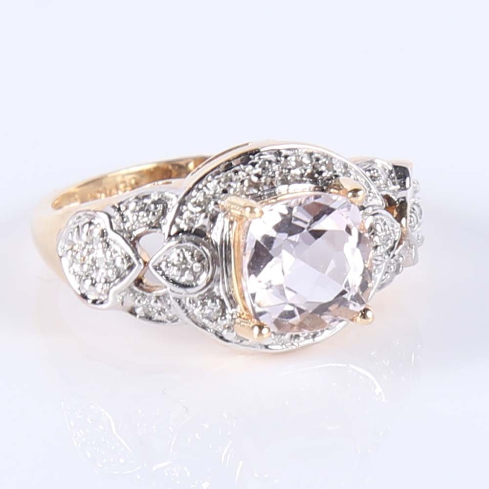 14K Yellow Gold Pink Quartz and Diamond Ring