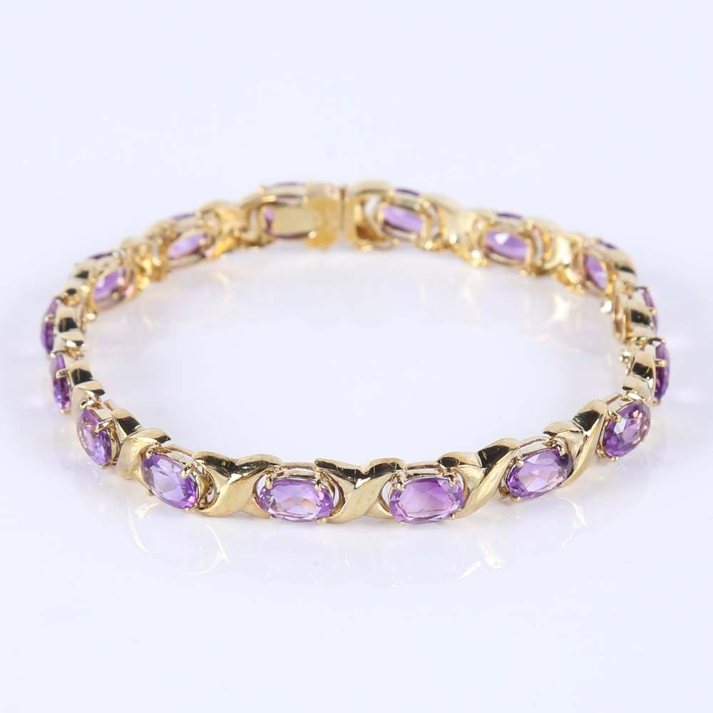 14K Yellow Gold and Amethyst Tennis Bracelet