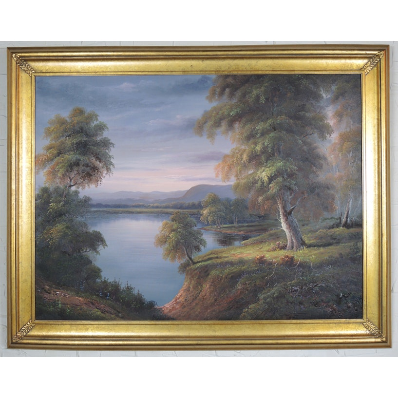 Original Large Scale Lake Landscape Painting in Gold Frame