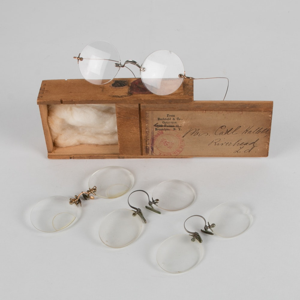 Pairs of Antique Eyeglasses With Box