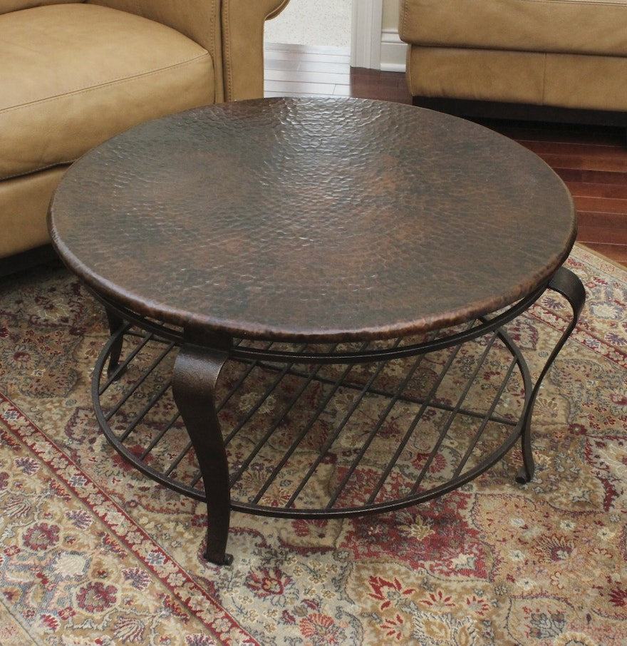 Hammered Copper Top Coffee Table Ebth
