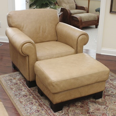 Leather Plantation Style Chair With Ottoman Ebth