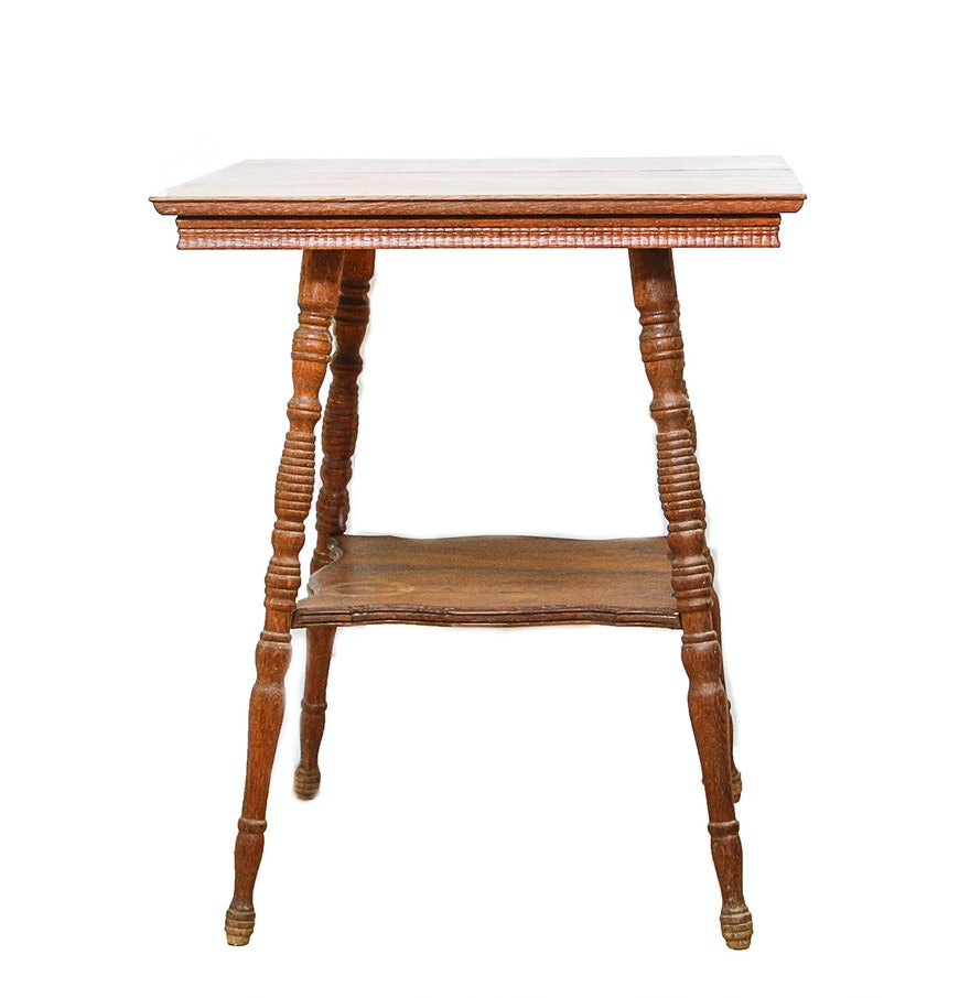 Wooden Side Table Vintage Wooden Side Table With Spindle Legs And Shelf Ebth