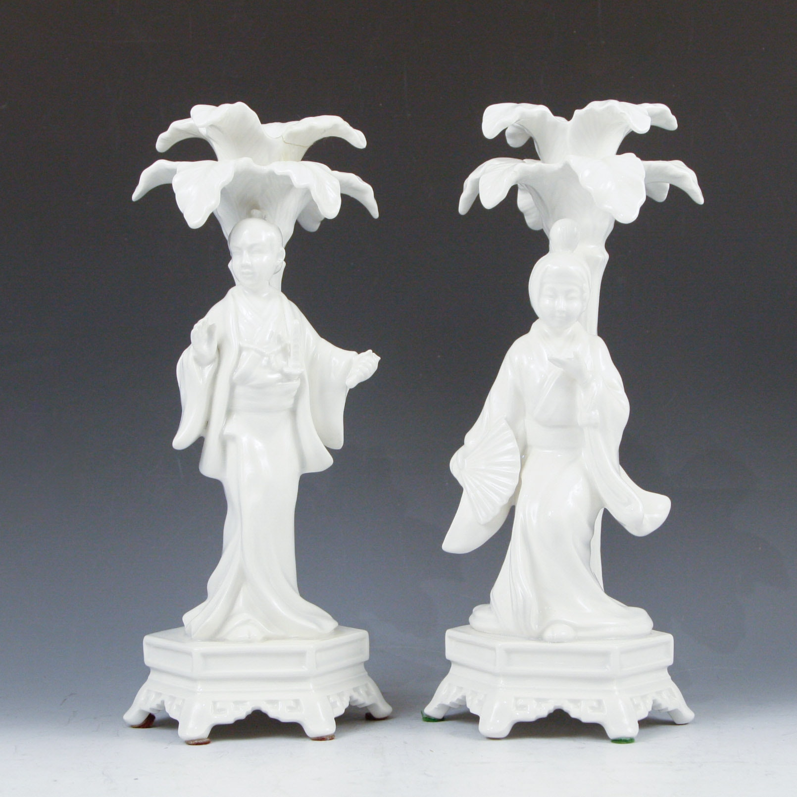 Fitz and Floyd White Porcelain Figural Candlesticks