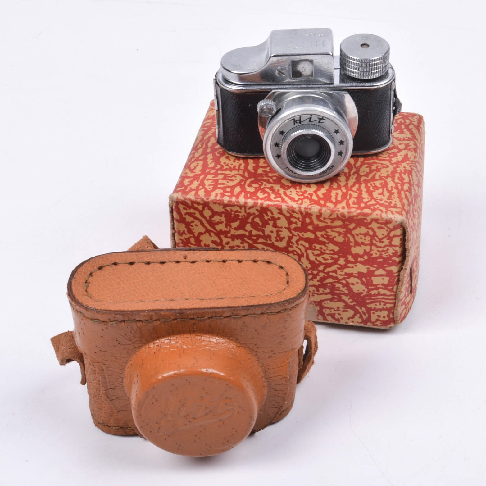 Vintage HIT Japan Miniature Spy Camera with Leather Case and Box