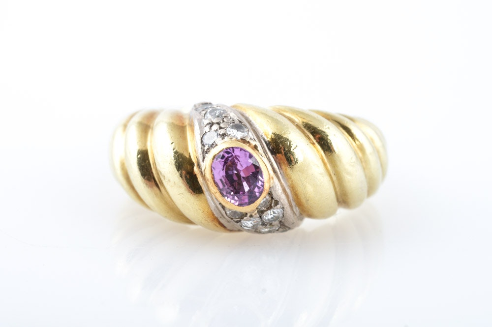 14K Yellow Gold, Pink Sapphire, and Diamond Ring