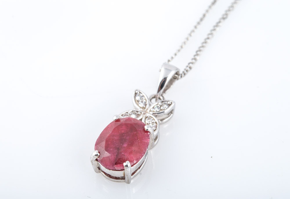 sterling silver ruby and cubic zirconia pendant with