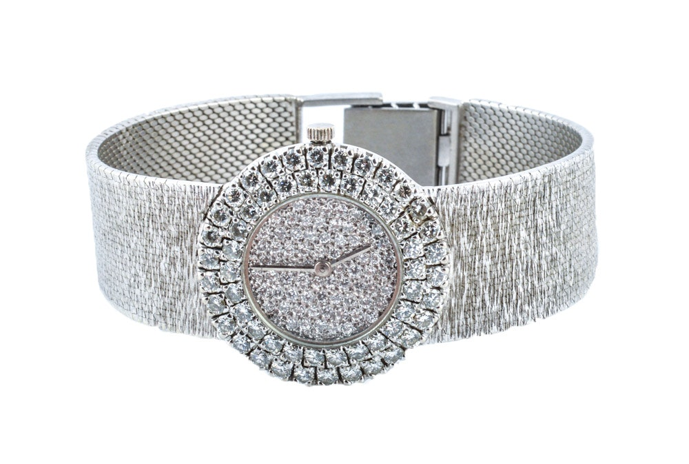 Bueche Girod 18K White Gold 3.00 CTW Diamond Wristwatch
