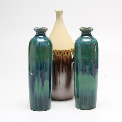 three decorative vases with drip glazes - Decorative Vases