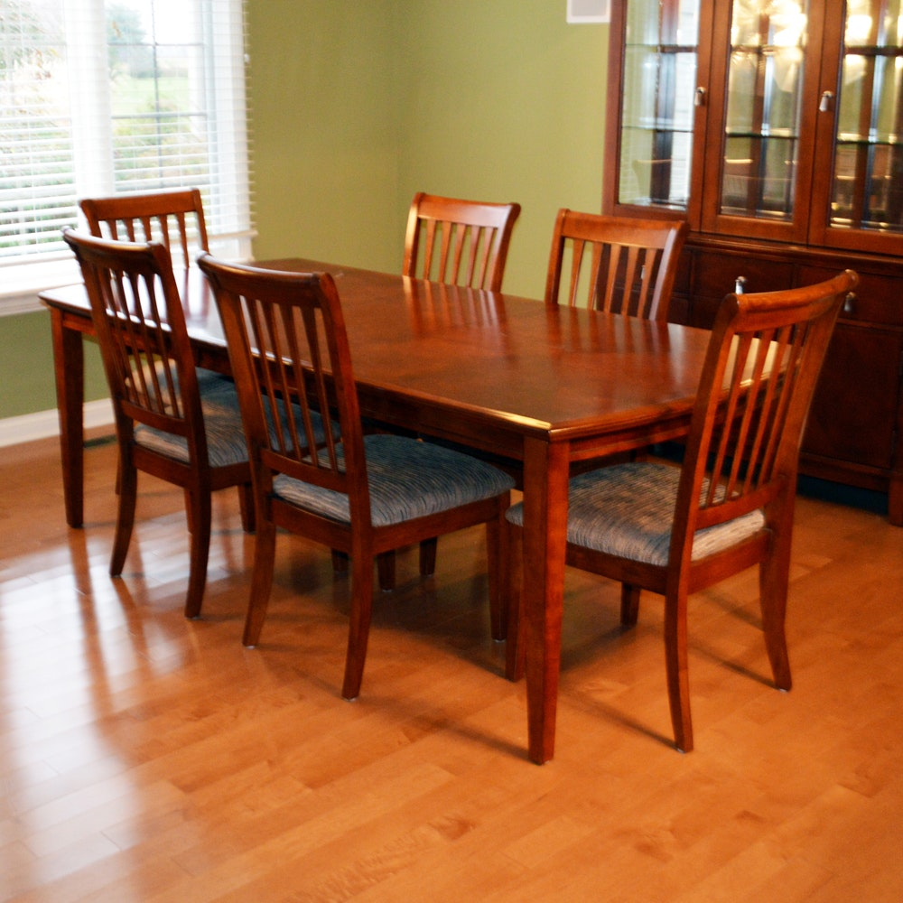 Cherry Dining Table and Six Chairs