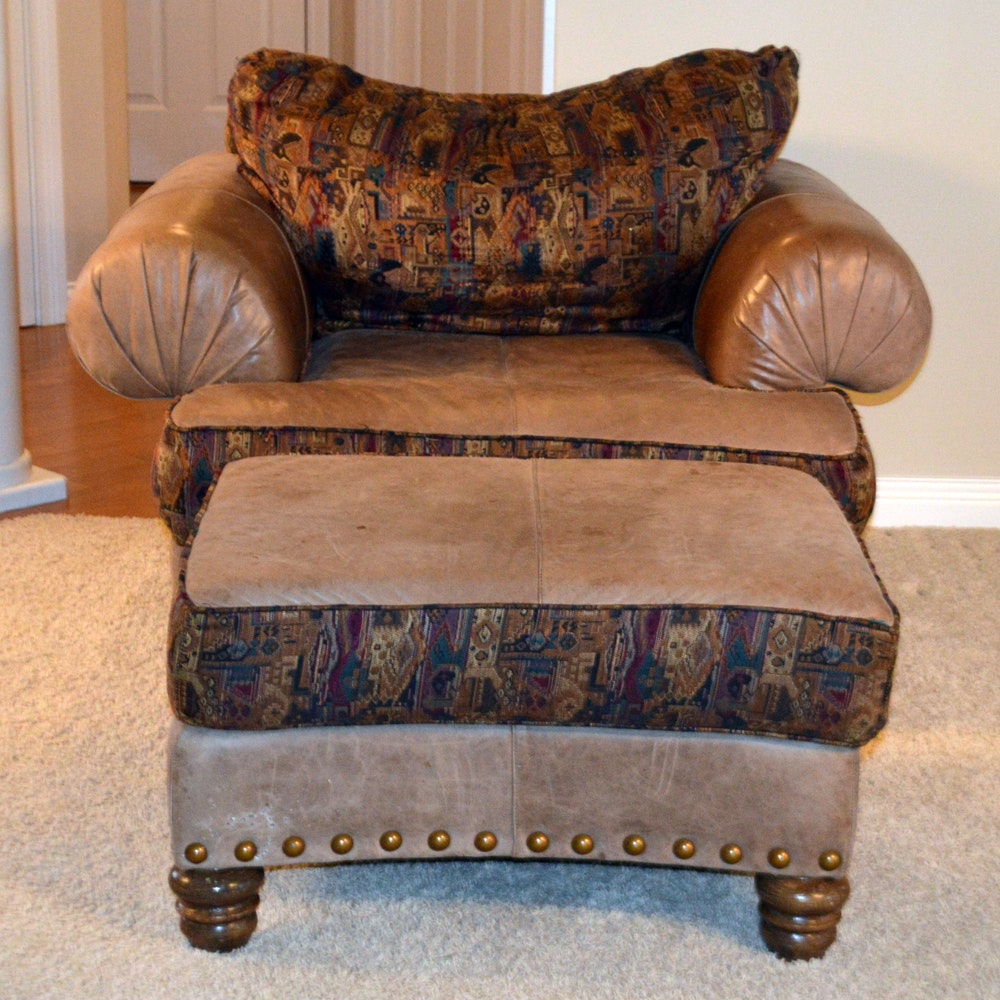Contemporary Leather and Fabric Armchair With Ottoman