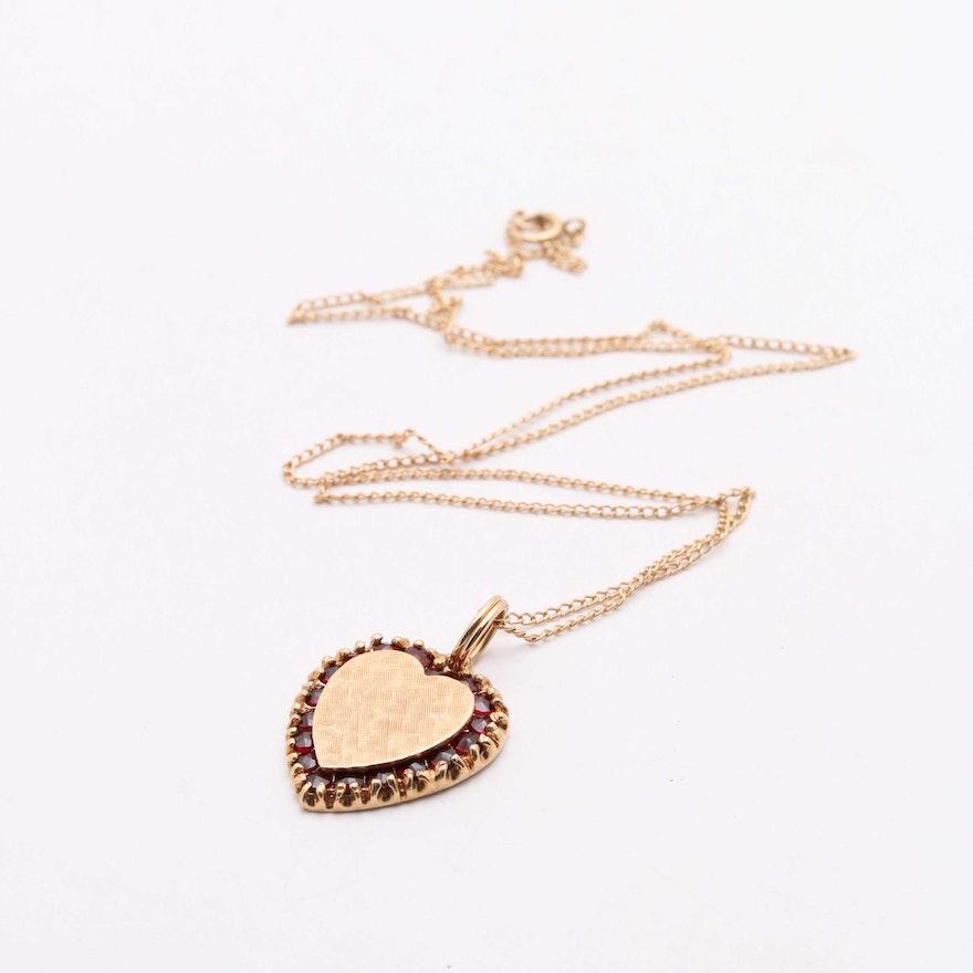 Lucien piccard 14k yellow gold garnet heart pendant necklace ebth lucien piccard 14k yellow gold garnet heart pendant necklace mozeypictures Images
