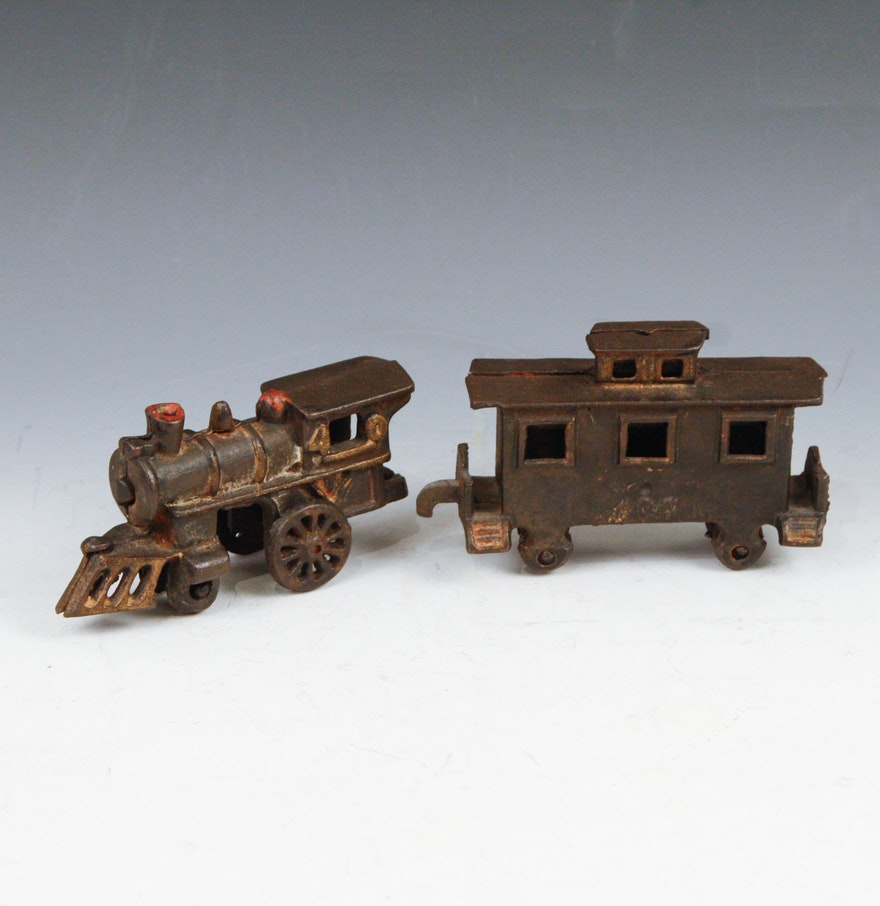 Nycrr Cast Iron Train: Antique Cast Iron Train Engine And Caboose : EBTH