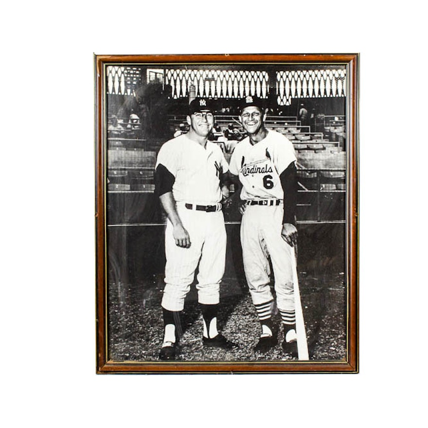 Mickey Mantle and Stan Musial Enlarged Framed Photograph : EBTH