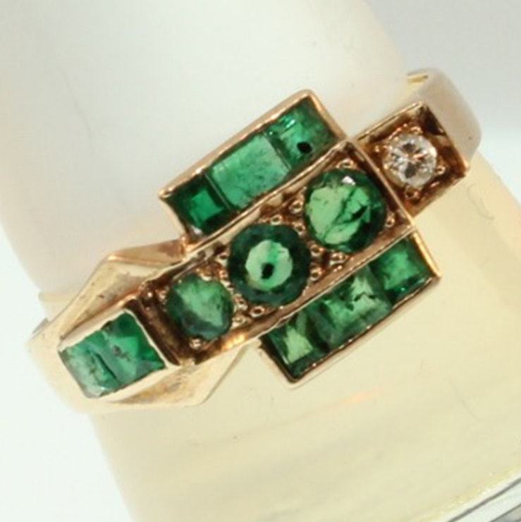 vintage 10k yellow gold emerald and ring ebth