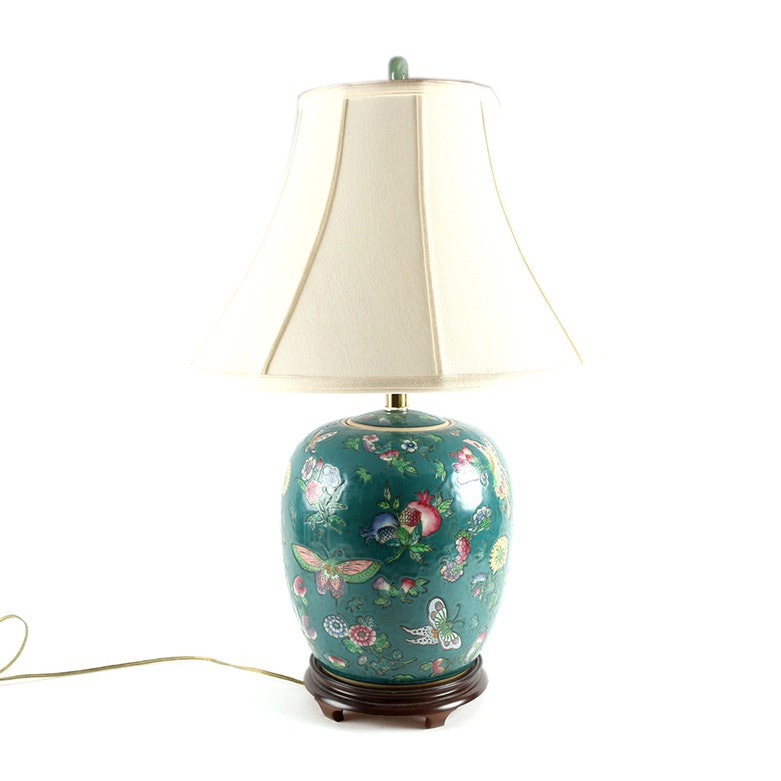 Chinese Inspired Butterfly Ceramic Lamp