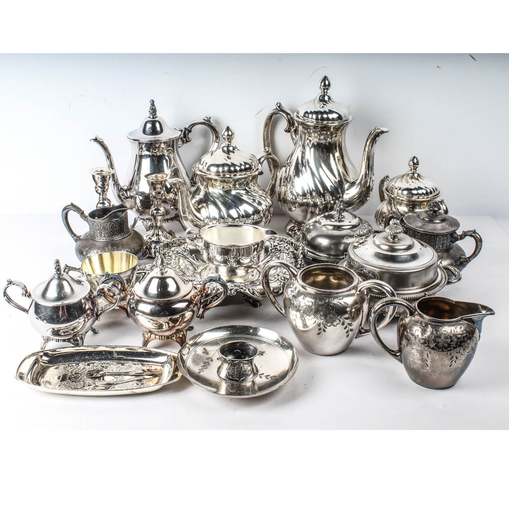 Collection of Silver Plate Teapots and More