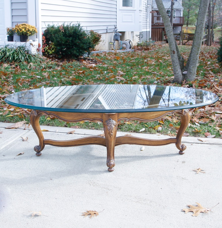 Oval Glass Top Coffee Table With Carved Wood Base : EBTH