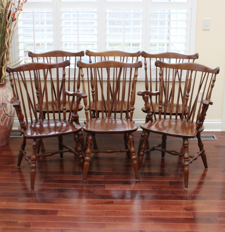 """Six Ethan Allen """"American Traditional"""" Cherry Dining"""