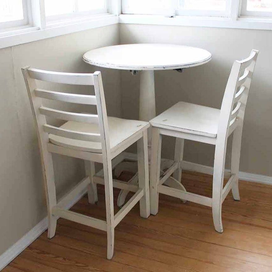 White Wooden Bistro Table And Chairs Ebth