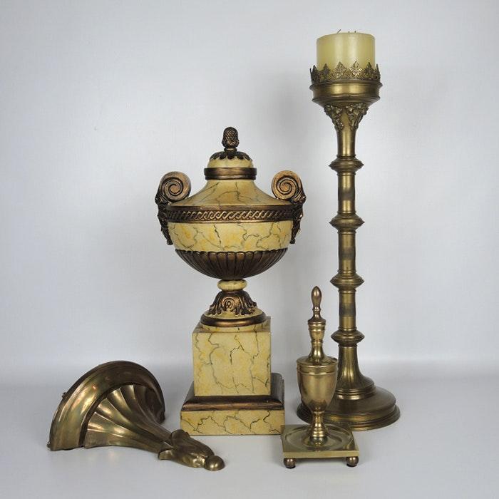 Brass Decor with Tall Candleholder, Urn on Pedestal and Shelf