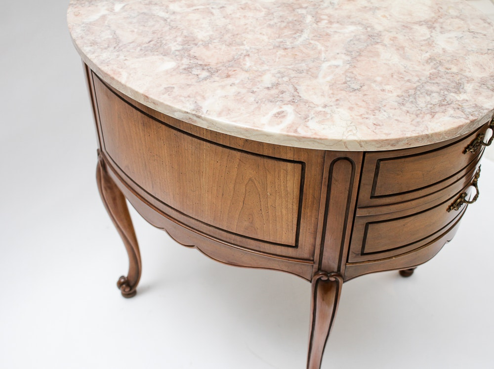 Pair Of Weiman Heirloom Marble Topped Antique End Tables