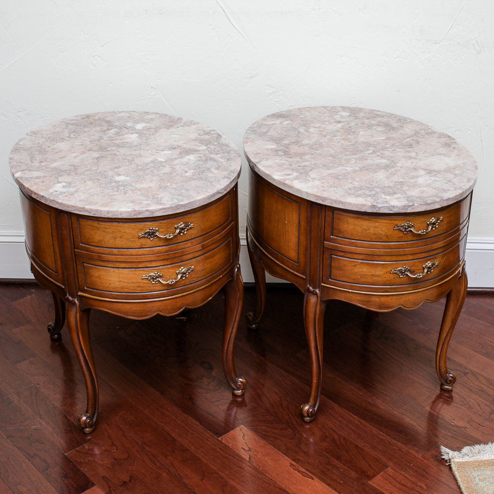 Pair of Weiman Heirloom Marble Topped Antique End Tables EBTH