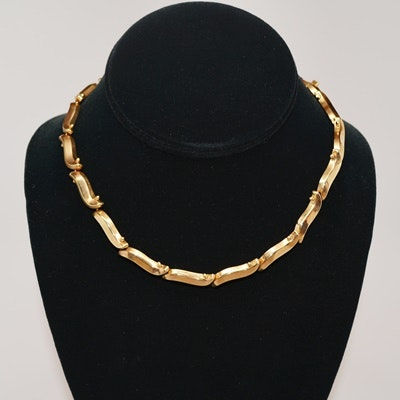14K Yellow Gold Vintage Wave Link Necklace