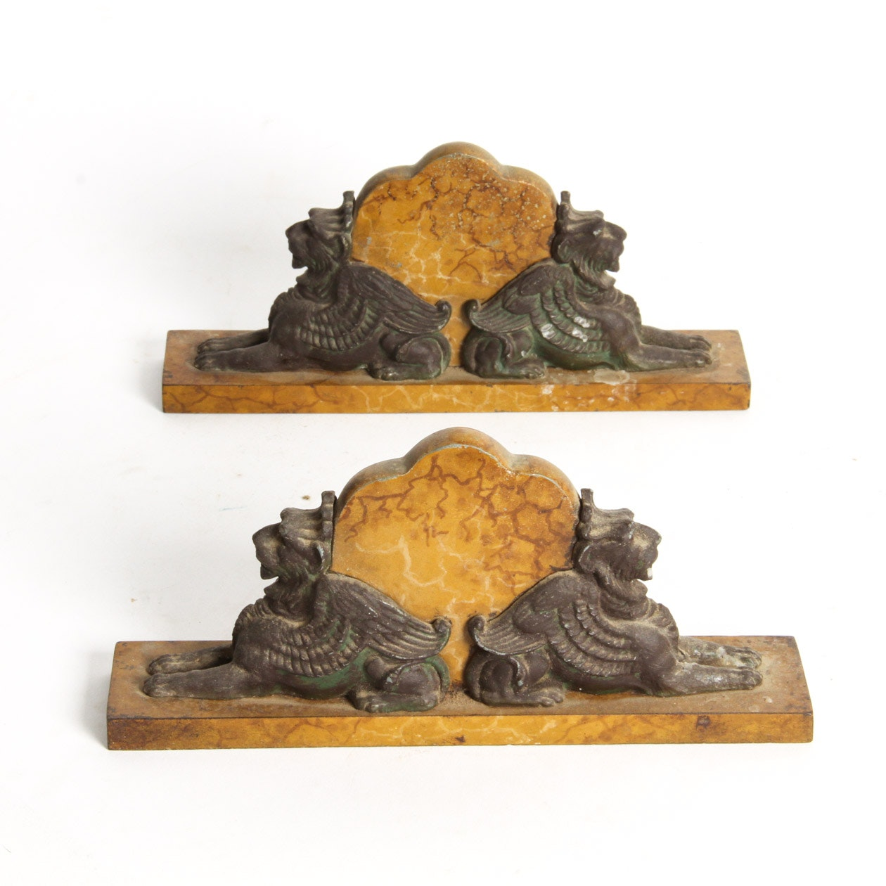 Pair of Vintage Cast Iron and Stone Griffin Door Stoppers ...  sc 1 st  EBTH.com & Pair of Vintage Cast Iron and Stone Griffin Door Stoppers : EBTH