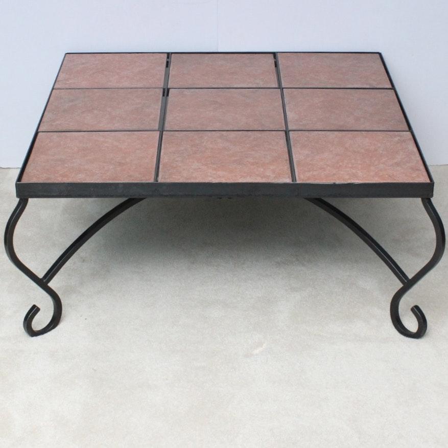 slate tile top wrought iron coffee table : ebth Wrought Iron Coffee Table