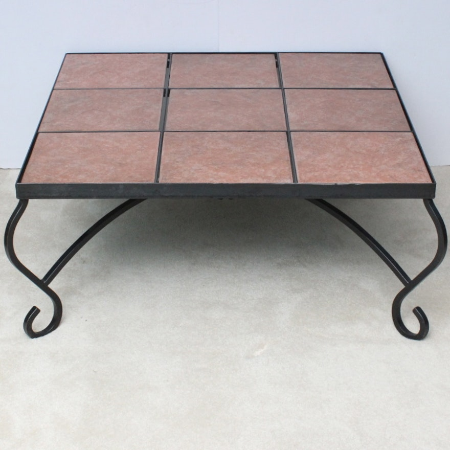 Swell Slate Tile Top Wrought Iron Coffee Table Beatyapartments Chair Design Images Beatyapartmentscom