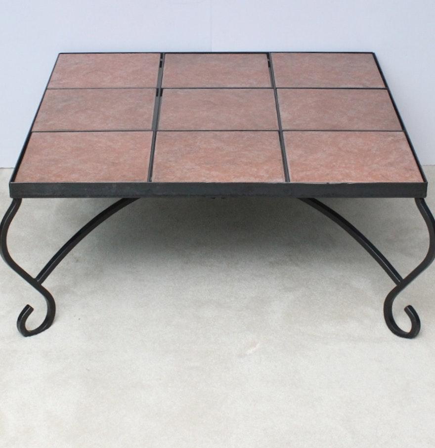 Ashley slate coffee table - Slate Tile Top Wrought Iron Coffee Table